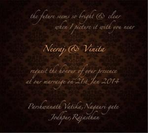 Neer wedding invite