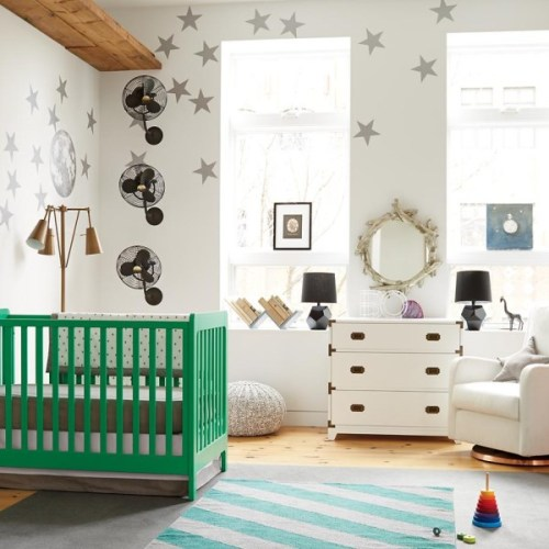 Modern-eclectic-nursery-with-kelly-green-crib
